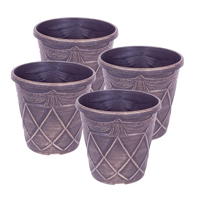 Set of 4 Tuscan Style Gold Planters