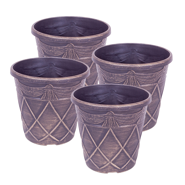 Set of 4 Tuscan Style Gold Planters No Colour