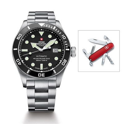 Swiss Military Gents Limited Edition Automatic Watch with Stainless Steel Bracelet with Swiss Army Penknife