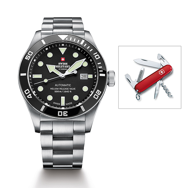 Swiss Military Gents Limited Edition Automatic Watch with Stainless Steel Bracelet with Swiss Army Penknife Silver