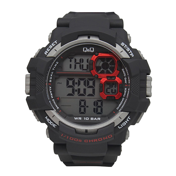 Q&Q Gent's LCD Alarm Chronograph Camouflage Action Watch Black