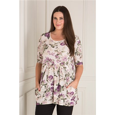 Nicole Floral Print Pleat Front Top