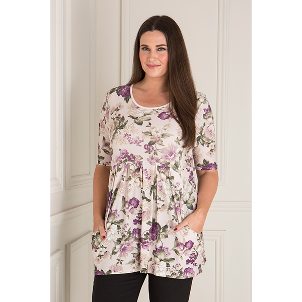 Nicole Floral Print Pleat Front Top Multi