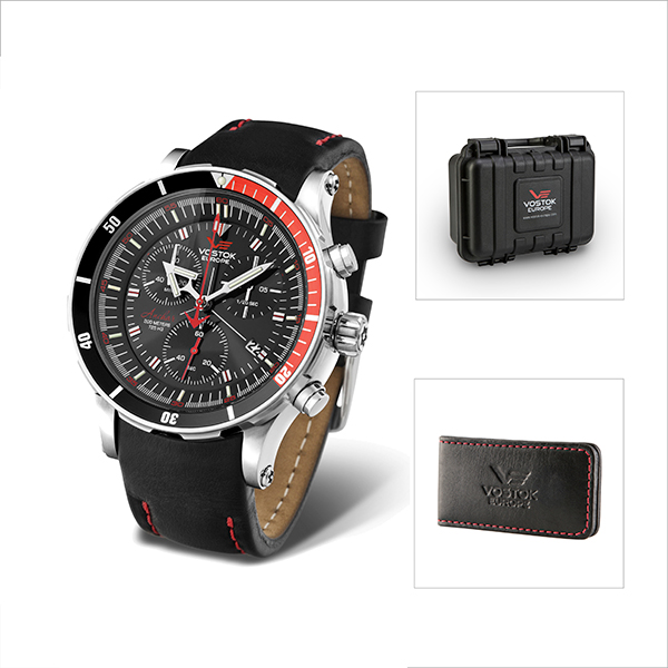 Vostok Europe Gent's Anchar Chronograph Watch with Interchangeable Strap, Dry Box and FREE Vostok Europe Money Clip Black