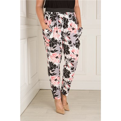Nicole Floral Jersey Drape Trouser With Elasticated Waist