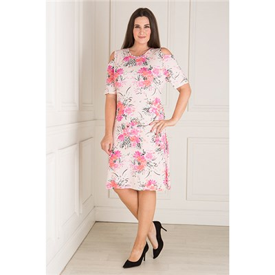 Nicole Print Cold Shoulder Dress