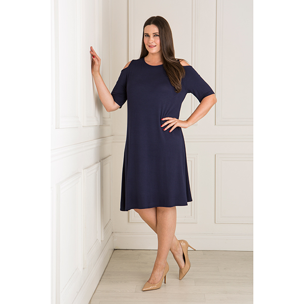 Nicole Cold Shoulder Dress Navy