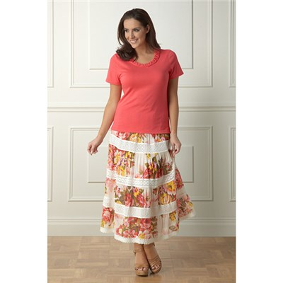Lavitta Cotton Floral Print skirt 35in