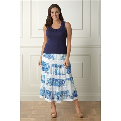 Lavitta Cotton Blue Floral print skirt 35in