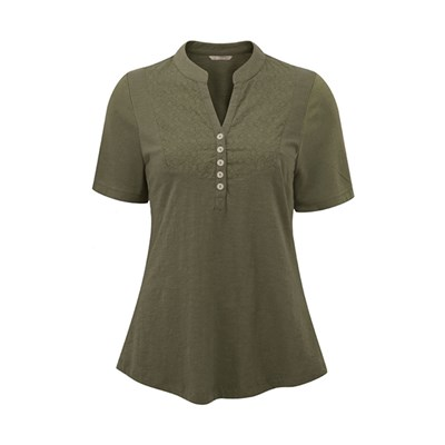 Lavitta Short Sleeve Embroidered Placket Front T Shirt 27.5in