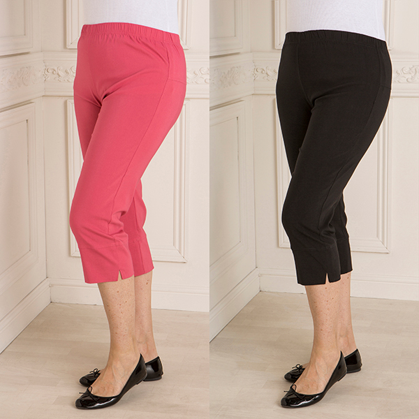 Nouvelle Two Pack Stretch Bengaline Cropped Trouser Black/Coral