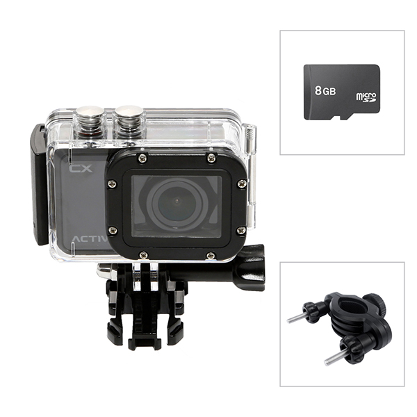 Activeon CX HD Pocket Action Camera with Waterproof Case, 8GB Micro SD Card and Handle Bar Mount No Colour