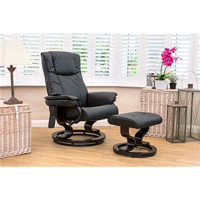 Furniture Collection Santiago Swivel Heat and Massage Recliner Chair and Stool