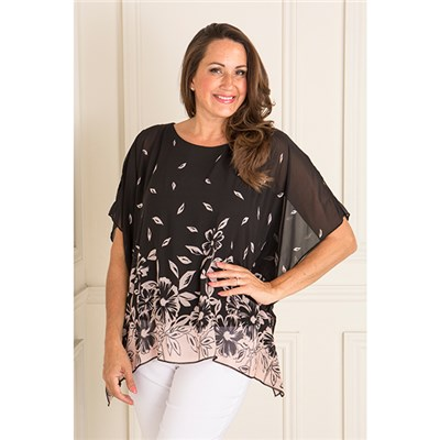 Reflections Lined Chiffon Print Top