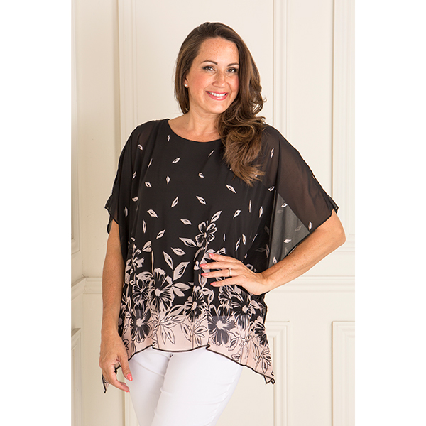 Reflections Lined Chiffon Print Top Floral Border