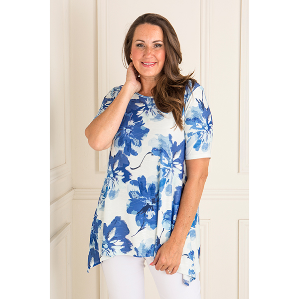 Reflections Textured Print Half Sleeve Tunic Blue/White Floral
