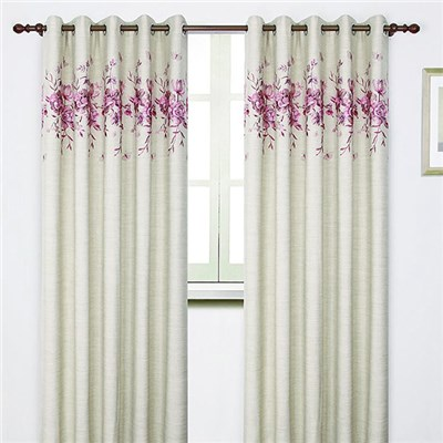 Alba Embroidered Faux Linen Ring Top Curtains (66 inches x)