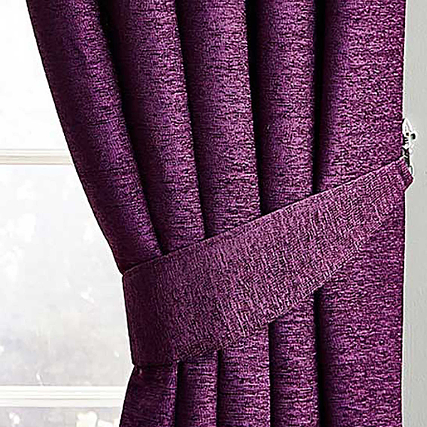 Bali Chenille Pencil Pleat Curtains (90 inches x) Plum