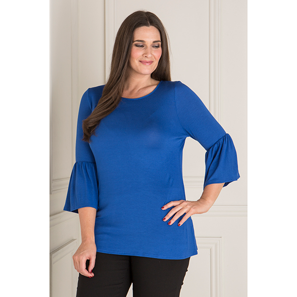 Just Be You Frill Sleeve Tunic Cobalt