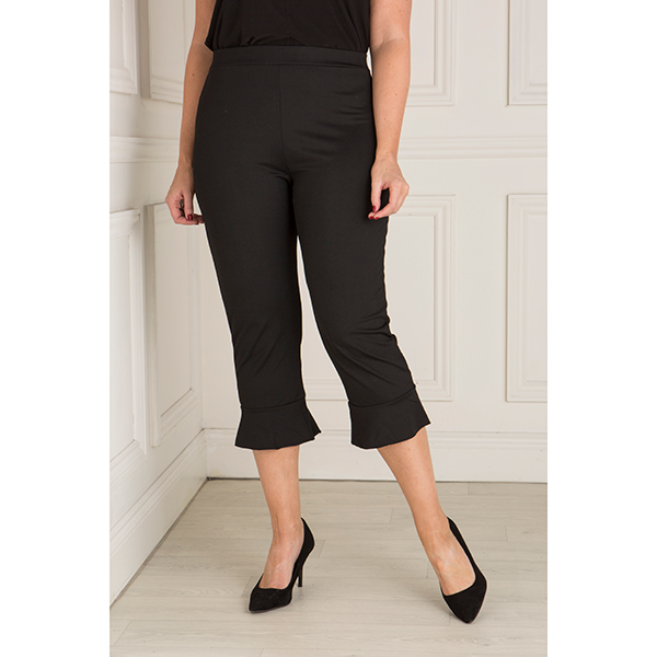 Just Be You Frill Hem Crop Trouser Black