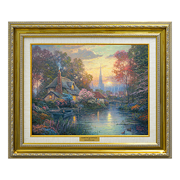 Thomas Kinkade Nanette's Cottage Canvas Classic Print Gold