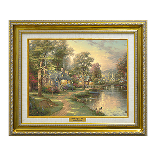 Thomas Kinkade Hometown Lake Canvas Classic Print Gold