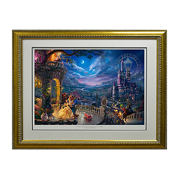 Thomas Kinkade Beauty and the Beast Dancing in the Moonlight Limited Edition Gold