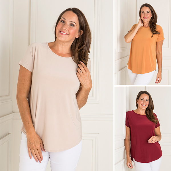 Nicole 3 Pack Soft Touch Short Sleeve Top Maroon/Stone/Gold