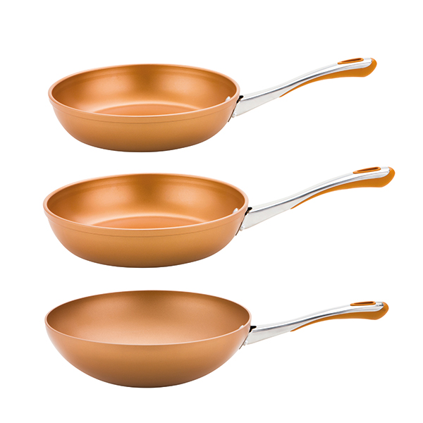Prestige Prism 3 piece pan set 24cm and 30cm Frying Pan 1 x 28cm Stir Fry Pan Copper