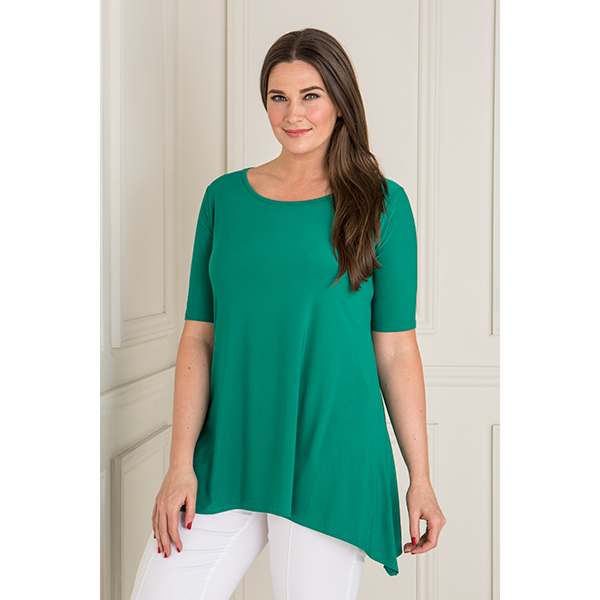 Reflections Half Sleeve Dip Hem Top Spring Green