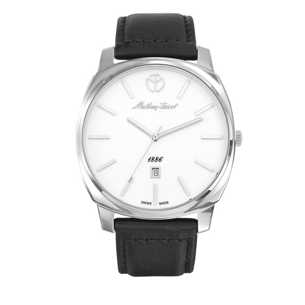 Mathey-Tissot Gent's Smart Watch with Genuine Leather Strap Black And White