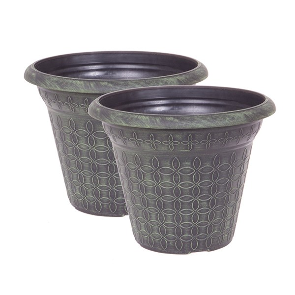 Pair Verdigris effect Planters 12 Inch (30cm) No Colour
