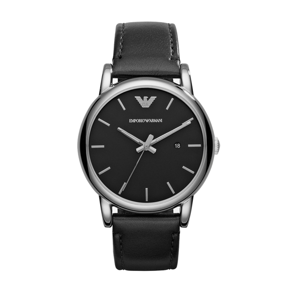 Emporio Armani Gents Watch with Stainless Steel Case Genuine Leather Strap 405995