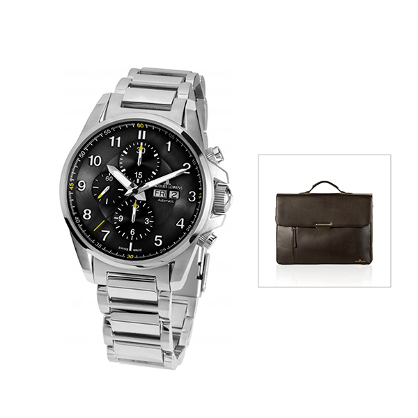 Jacques Lemans Swiss Made ETA Valjoux Liverpool Automatic with FREE Bag Black