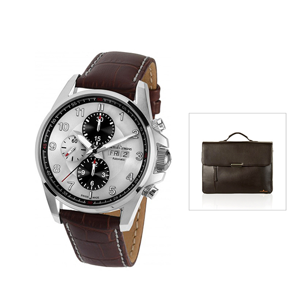 Jacques Lemans Swiss Made ETA Valjoux Liverpool Automatic with FREE Bag Brown
