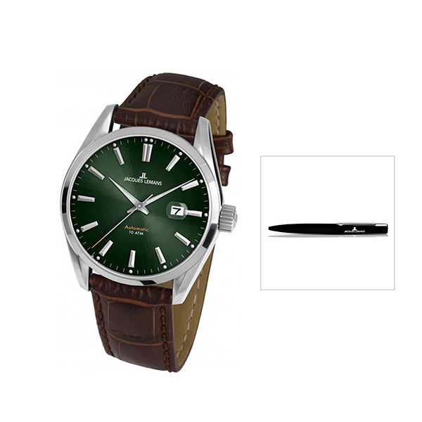 Jacques Lemans GMiyota 8215 Automatic Derby Series with FREE Pen Brown