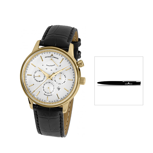 Jacques Lemans Miyota 9100 Automatic Retro Classic Series with FREE Pen Gold