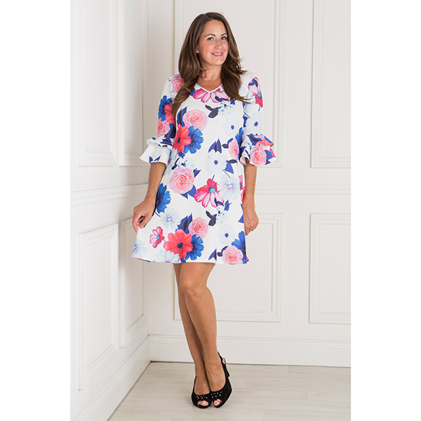 Nouvelle Crepe Floral Print Double Frill Sleeve Swing Dress Blue Floral