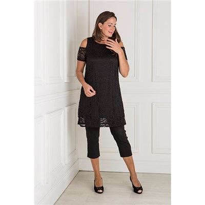 Nouvelle Lace Short Sleeve Cold Shoulder Tunic