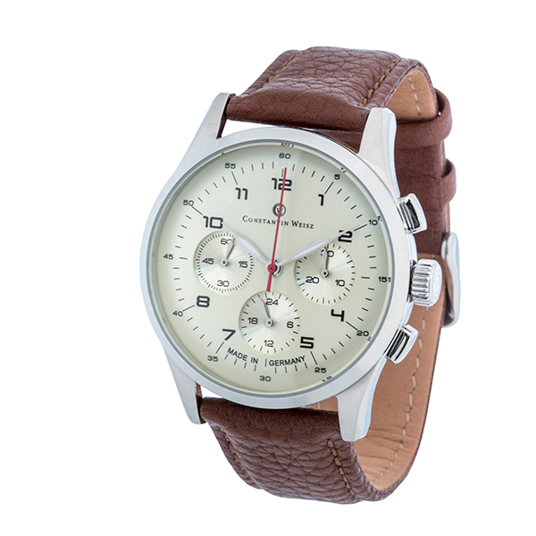 Constantin Weisz Chronograph with Leather Strap and Luxury Presentation Box Brown