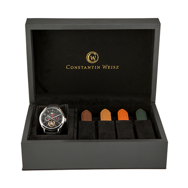 Constantin Weisz Automatic with Interchangeable Straps and Presentation Box Black/Silver