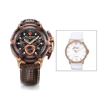 Tonino Lamborghini Gent's Wheels 2290 Quartz Chronograph Watch with Genuine Leather Strap with FREE Ladies' Watch