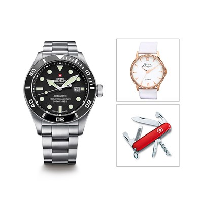 Swiss Military Gent's Limited Edition Automatic Watch with Stainless Steel Bracelet with Swiss Army Penknife with FREE Ladies' Watch