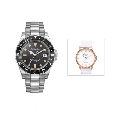 Mathey-Tissot Gent's Automatic Limited Edition Vintage Roly Watch with Stainless Steel Bracelet with FREE Ladies' Watch