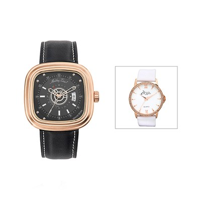 Mathey-Tissot Gent's Square Watch with Dual Time and Genuine Leather Strap with FREE Ladies' Watch