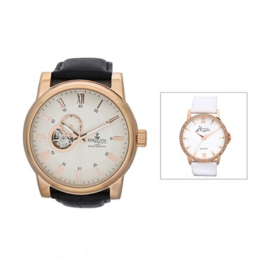 Bermuda Gent's St George Automatic Watch with Leather Strap with FREE Ladies' Watch