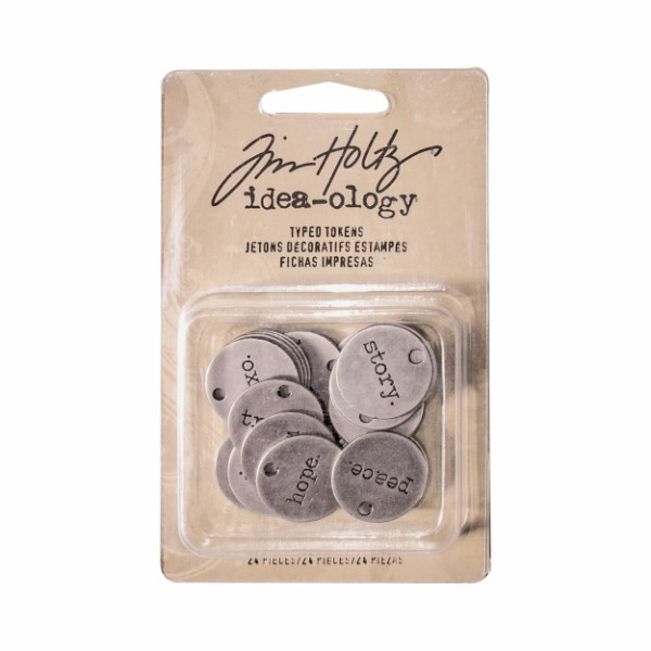 Tim Holtz Typed Tokens 24 pk No Colour