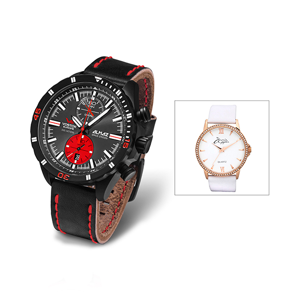 Vostok Europe Gents Almaz Chronograph Watch with Interchangeable Strap with FREE Ladies Watch 406245