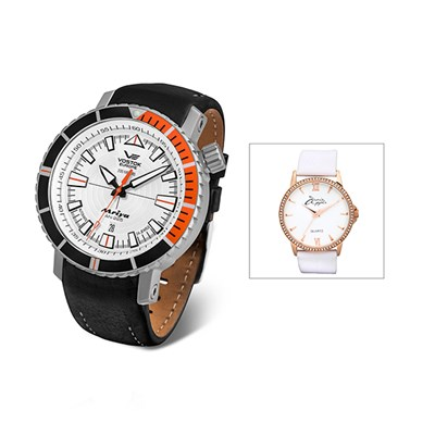 Vostok Europe Gent's Mriya Automatic Watch with Interchangeable Genuine Leather and Silicon Straps in a Dry Box with FREE Ladies' Watch