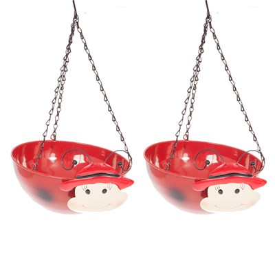 Pair of Ladybird Wobblehead Hanging Baskets 32cm